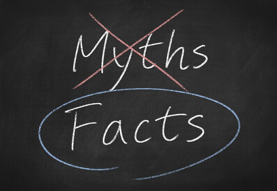 facts and myths concept word text on blackboard background